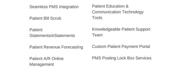 Seamless PMS IntegrationPatient Bill ScrubPatient StatementseStatements